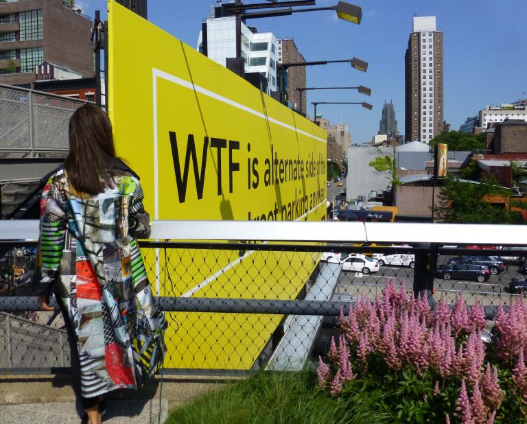 Simo Neri - GRIDS reversible raincoat takes a walk on the High Line - 2