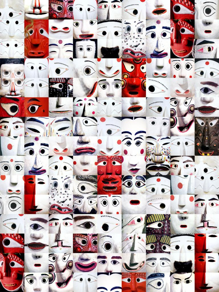 Simo Neri - Masks in Red and White - 1