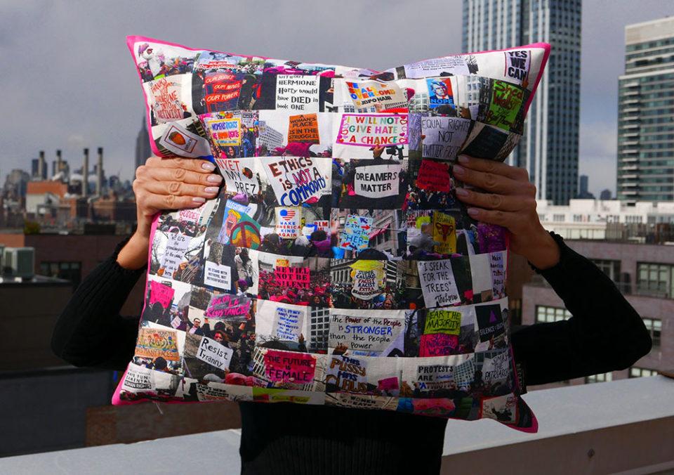 American Spring  Women s March pillow cover - Simo Neri Simo Neri 21a1855e67
